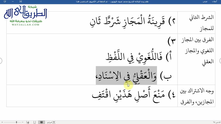 الدرس ( 44) شرح نظم زبدة البلاغة
